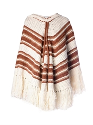 Saint Laurent Striped Crochet Hooded Poncho