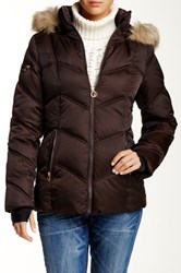 Nautica Faux Fur Trim Hooded Quilted Jacket Brown