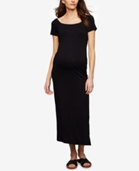 A Pea In The Pod Maternity Babydoll Maxi Dress Black
