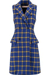 Marni Double Breasted Checked Wool Vest Bright Blue