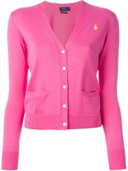 Polo Ralph Lauren Logo Knit Cardigan Pink And Purple