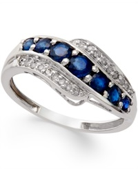 Macy's Sapphire 1 Ct. T.W. And Diamond Accent Ring In 14K White Gold Blue