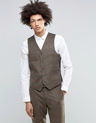 Feraud Heritage Premium Wool And Cashmere Blend Brown Check Waistcoat Brown