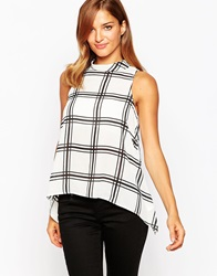 Ax Paris High Necktop In Grid Check Cream