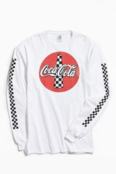 Urban Outfitters Checkered Coca Cola Long Sleeve Tee White