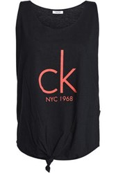 Calvin Klein Knotted Printed Cotton Blend Jersey Tank Black