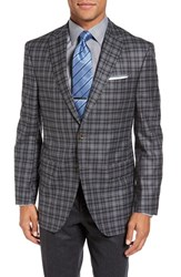 David Donahue Men's Big And Tall Connor Classic Fit Plaid Wool Sport Coat Gray