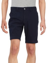 Black Brown Bedford Button Shorts Mineral Blue