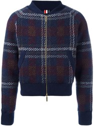 Thom Browne Checked Knit Bomber Jacket Blue