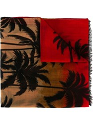 Saint Laurent Palm Tree Intarsia Scarf Red