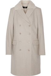 Tibi Shearling Trimmed Wool Blend Coat Beige