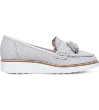 Carvela Limbo Snake Effect Leather Loafers Grey