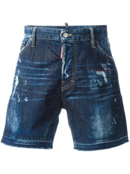 Dsquared2 Bermuda Bleached Distressed Shorts Blue