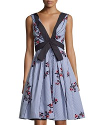 Marc Jacobs Sleeveless Embroidered Gingham Dress Blue