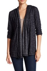 Harlowe And Graham Soft Knit Hooded Fleece Cardigan Petite Black