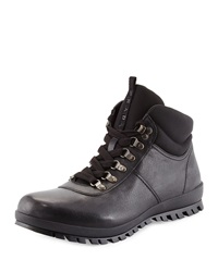 Prada Lugged Leather Hiking Boot Black