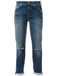 7 For All Mankind Ripped Boyfriend Jeans Blue