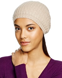 C By Bloomingdale's Cashmere Ribbed Slouch Hat Light Oatmeal
