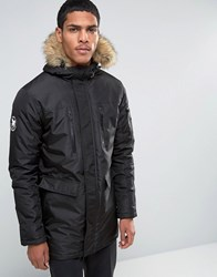 Good For Nothing Parka With Faux Fur Hood Black