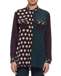 Lanvin Long Sleeve Multi Print Patchwork Blouse Multi Colored