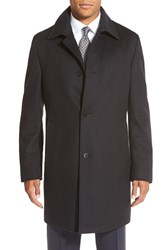 Men's Big And Tall Boss 'Task' Trim Fit Wool And Cashmere Overcoat Black