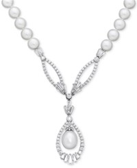 Arabella Cultured Freshwater Pearl 8Mm And Swarovski Zirconia 17 Pendant Necklace In Sterling Silver White
