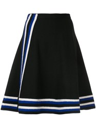 Lanvin Striped Knitted A Line Skirt Wool L Black