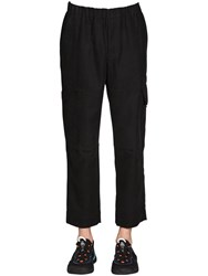Kenzo Cropped Cotton Blend Cargo Pants Black