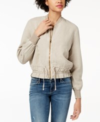 Lucky Brand Ruched Bomber Jacket Cobblestone