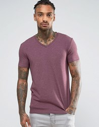 Asos Muscle T Shirt With V Neck In Red Marl Conker Marl