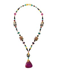 Jose And Maria Barrera Long Beaded Lace Agate Pendant Necklace Multi