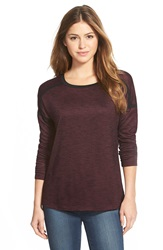 Caslon Long Sleeve Drop Shoulder Tee Regular And Petite Black Purple Pattern