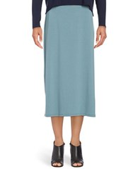 Eileen Fisher Jersey Knit Midi Skirt Blue Steel