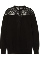 Givenchy Lace Trimmed Knitted Sweater Black