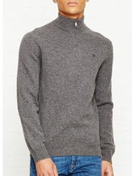 Hackett Zip Front Jumper Grey Marl