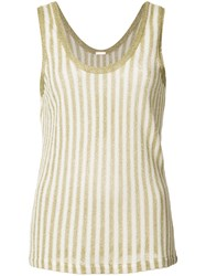 Adam By Adam Lippes Stripe Knit Tank Top Metallic