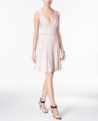 Guess Mirage Striped Fit And Flare Dress Rose Smoke True White