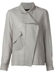 Anthony Vaccarello Zip Front Chemise Shirt Grey