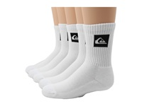 Quiksilver Legacy Crew 5 Pair Pack Big Kids White Men's Crew Cut Socks Shoes