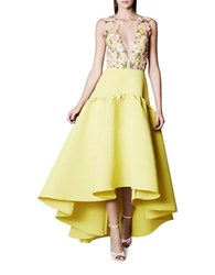 Marchesa Floral Embroidered Gown Chartreuse