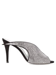 Givenchy Crystal Embellished Suede Mules Black Silver