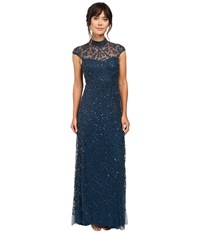 Adrianna Papell Cap Sleeve Beaded Turtleneck Gown Teal Crush Women's Dress Blue
