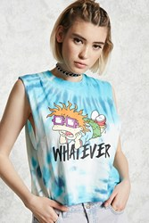Forever 21 Tie Dye Rugrats Muscle Tee Blue White
