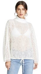 See By Chloe Turtleneck Lace Top Crystal White
