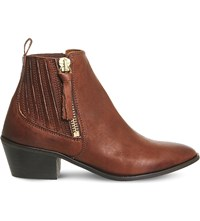 Office Luca Leather Western Boots Tan Leather