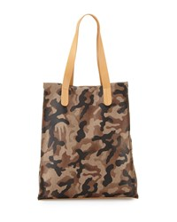 Neiman Marcus Camouflage Print Leather Tote Bag Camo Black Green Black