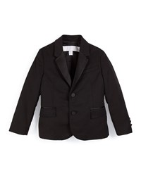 Burberry Wool Two Button Tuxedo Jacket Black