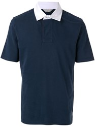 Gieves And Hawkes Contrast Polo Shirt Blue