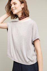 Anthropologie Shimmered Knit Tee Silver