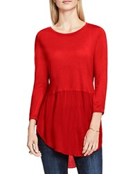 Vince Camuto Long Sleeve Scoopneck Mock Layer Sweater Fire Glow